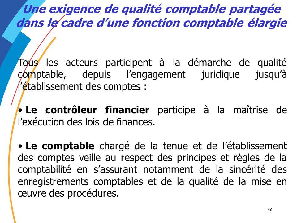 40 Tous les acteurs participent à la démarche de qualité comptable, depuis lengagement juridique jusquà létablissement des comptes : Le contrôleur fin