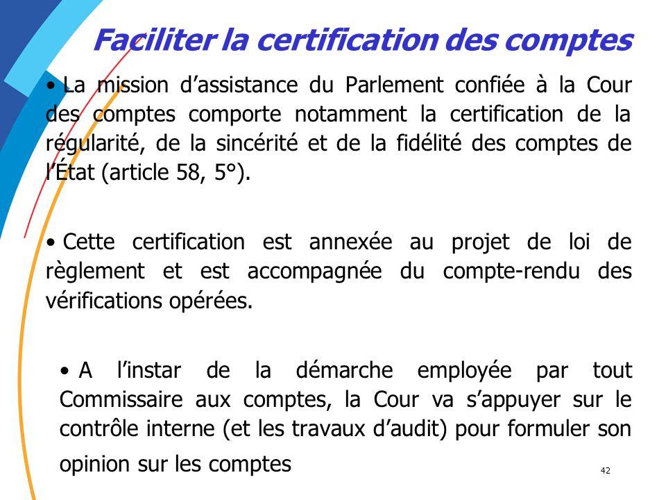 42 La mission dassistance du Parlement confiée à la Cour des comptes comporte notamment la certification de la régularité, de la sincérité et de la fi