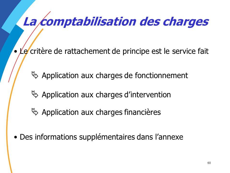 60 La comptabilisation des charges Le critère de rattachement de principe est le service fait Application aux charges de fonctionnement Application au