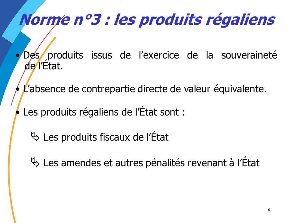 61 Des produits issus de lexercice de la souveraineté de lÉtat. Norme n°3 : les produits régaliens Labsence de contrepartie directe de valeur équivale