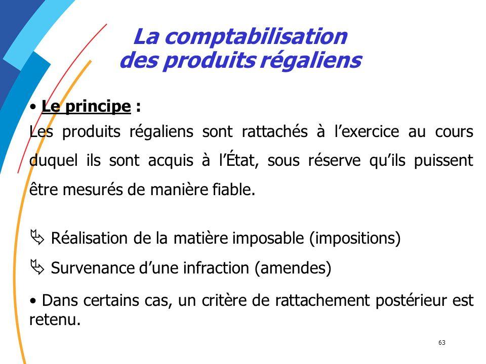 63 La comptabilisation des produits régaliens Le principe : Les produits régaliens sont rattachés à lexercice au cours duquel ils sont acquis à lÉtat,