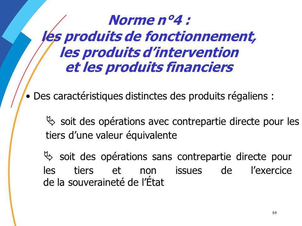 64 Norme n°4 : les produits de fonctionnement, les produits dintervention et les produits financiers Des caractéristiques distinctes des produits réga