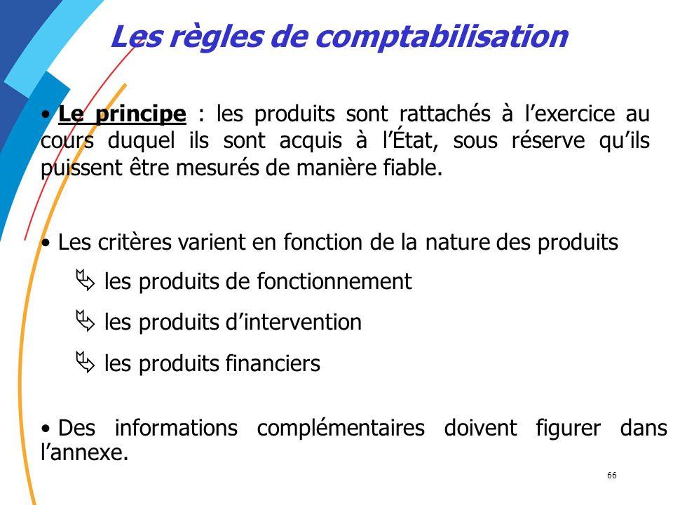 66 Les règles de comptabilisation Le principe : les produits sont rattachés à lexercice au cours duquel ils sont acquis à lÉtat, sous réserve quils pu