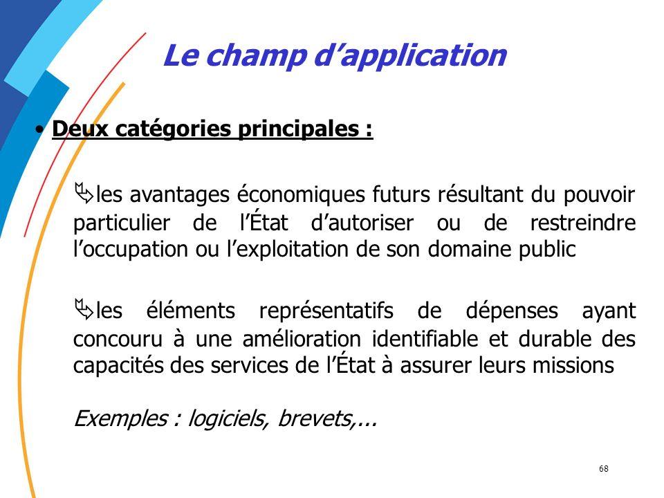 68 Le champ dapplication Deux catégories principales : les avantages économiques futurs résultant du pouvoir particulier de lÉtat dautoriser ou de res