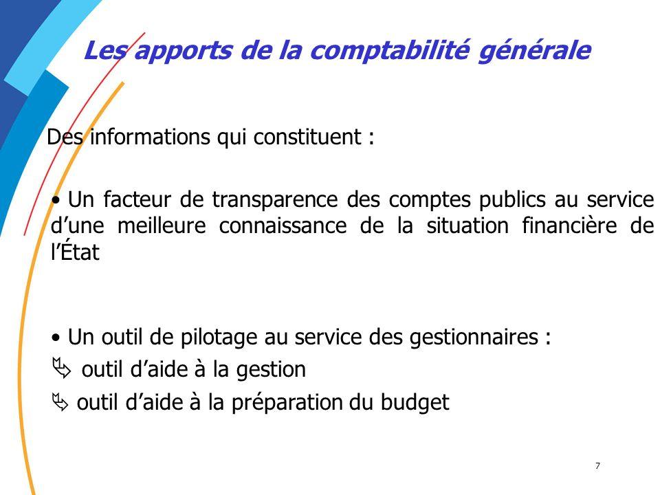 7 Les apports de la comptabilité générale Des informations qui constituent : Un facteur de transparence des comptes publics au service dune meilleure