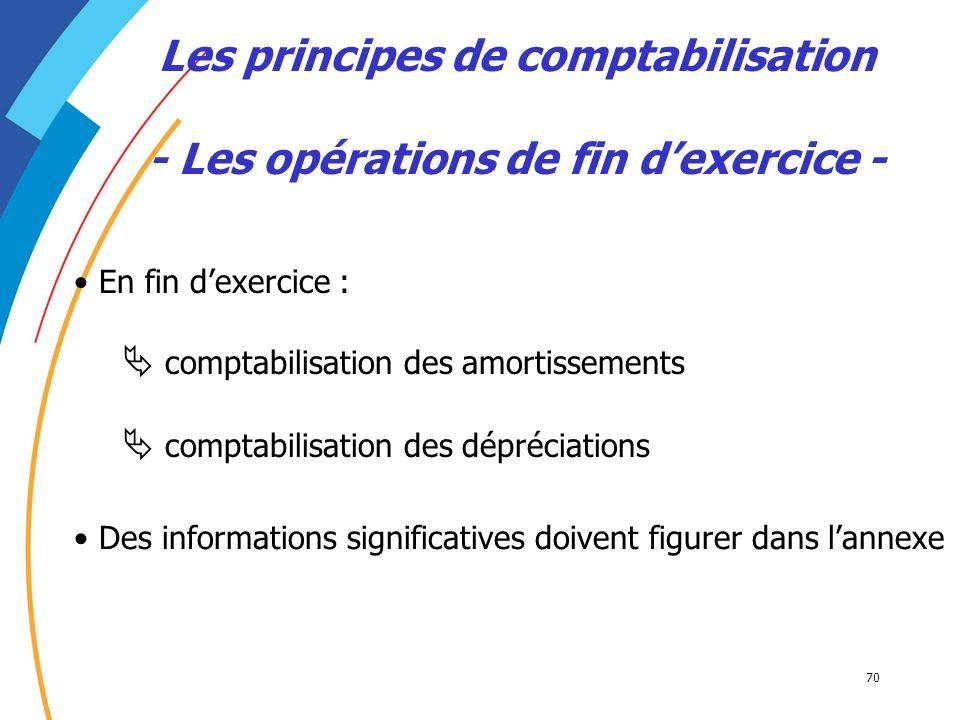 70 Les principes de comptabilisation - Les opérations de fin dexercice - En fin dexercice : comptabilisation des amortissements comptabilisation des d