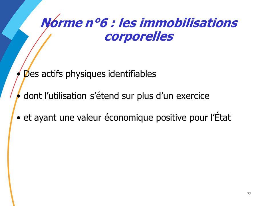 72 Norme n°6 : les immobilisations corporelles Des actifs physiques identifiables dont lutilisation sétend sur plus dun exercice et ayant une valeur é