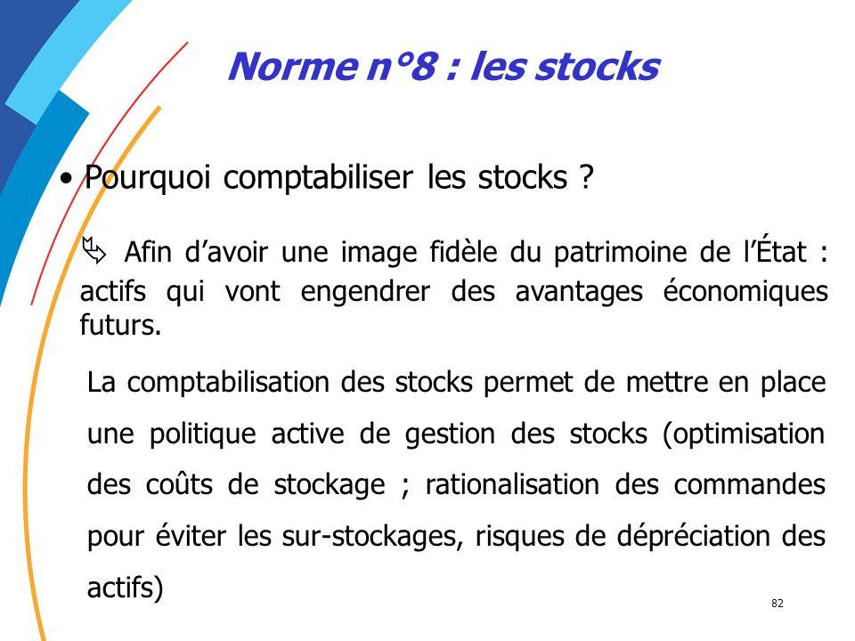 82 Norme n°8 : les stocks Pourquoi comptabiliser les stocks ? Afin davoir une image fidèle du patrimoine de lÉtat : actifs qui vont engendrer des avan