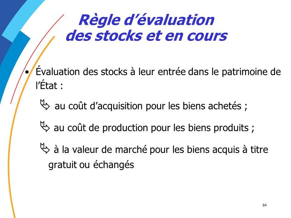 84 Évaluation des stocks à leur entrée dans le patrimoine de lÉtat : au coût dacquisition pour les biens achetés ; au coût de production pour les bien