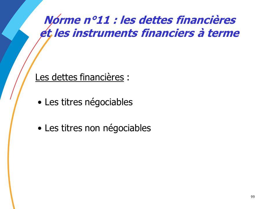 99 Norme n°11 : les dettes financières et les instruments financiers à terme Les titres négociables Les dettes financières : Les titres non négociable