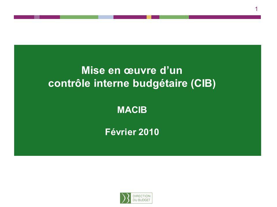 1 Mise en œuvre dun contrôle interne budgétaire (CIB) MACIB Février 2010