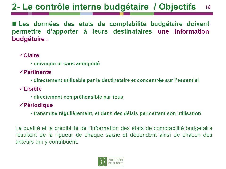 16 Les données des états de comptabilité budgétaire doivent permettre dapporter à leurs destinataires une information budgétaire : Claire univoque et