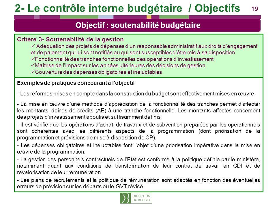 19 Exemples de pratiques concourant à lobjectif - Les réformes prises en compte dans la construction du budget sont effectivement mises en œuvre. - La