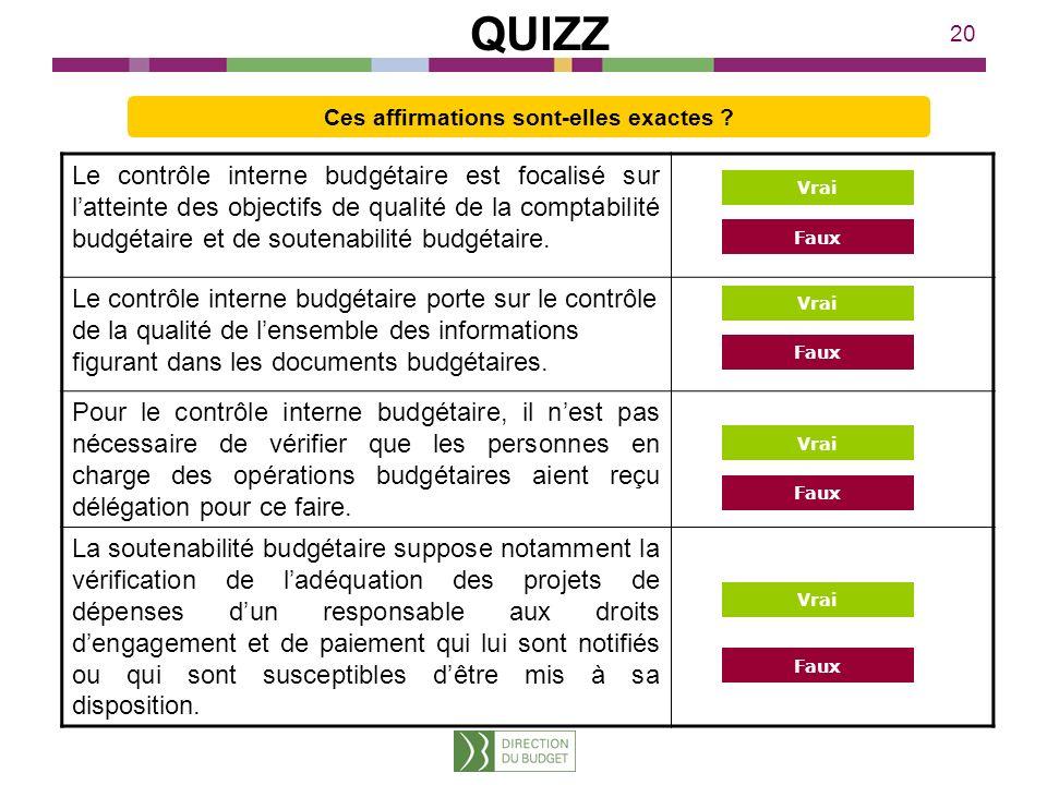 20 Le contrôle interne budgétaire est focalisé sur latteinte des objectifs de qualité de la comptabilité budgétaire et de soutenabilité budgétaire. Le