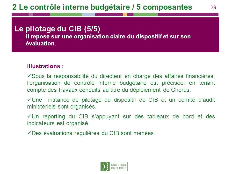 29 Illustrations : Sous la responsabilité du directeur en charge des affaires financières, lorganisation de contrôle interne budgétaire est précisée,