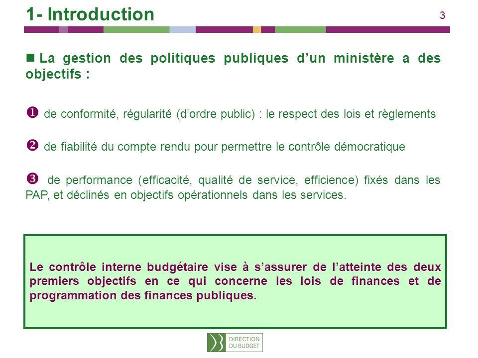 3 1- Introduction La gestion des politiques publiques dun ministère a des objectifs : de conformité, régularité (dordre public) : le respect des lois
