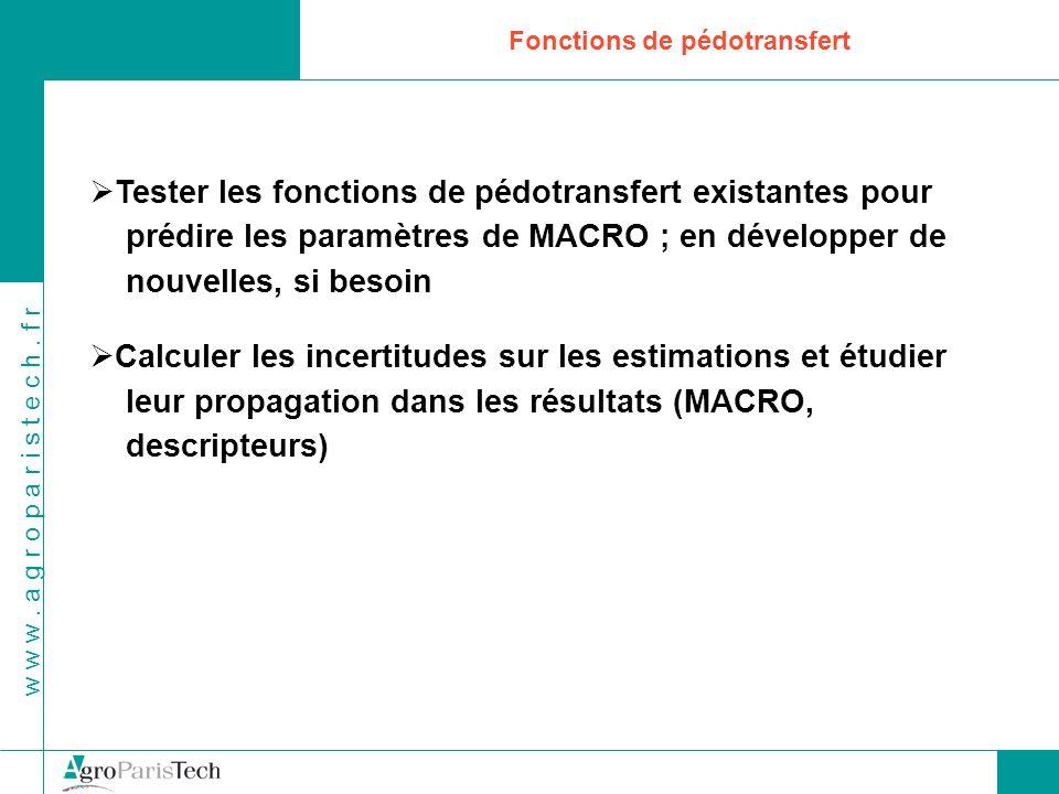 w w w. a g r o p a r i s t e c h. f r Fonctions de pédotransfert Tester les fonctions de pédotransfert existantes pour prédire les paramètres de MACRO
