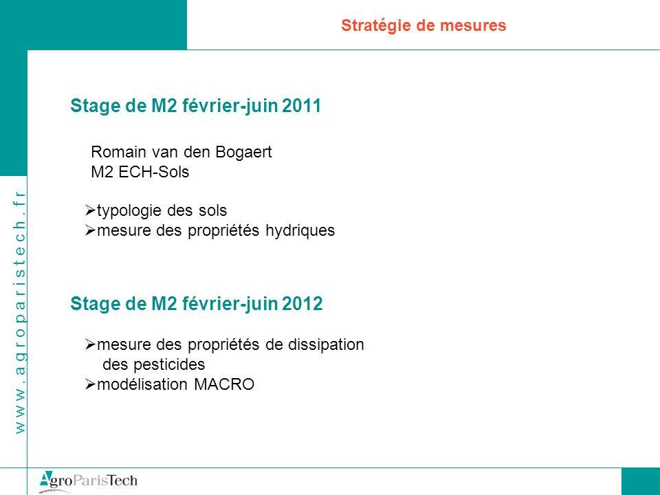 w w w. a g r o p a r i s t e c h. f r Stratégie de mesures Stage de M2 février-juin 2011 Romain van den Bogaert M2 ECH-Sols typologie des sols mesure