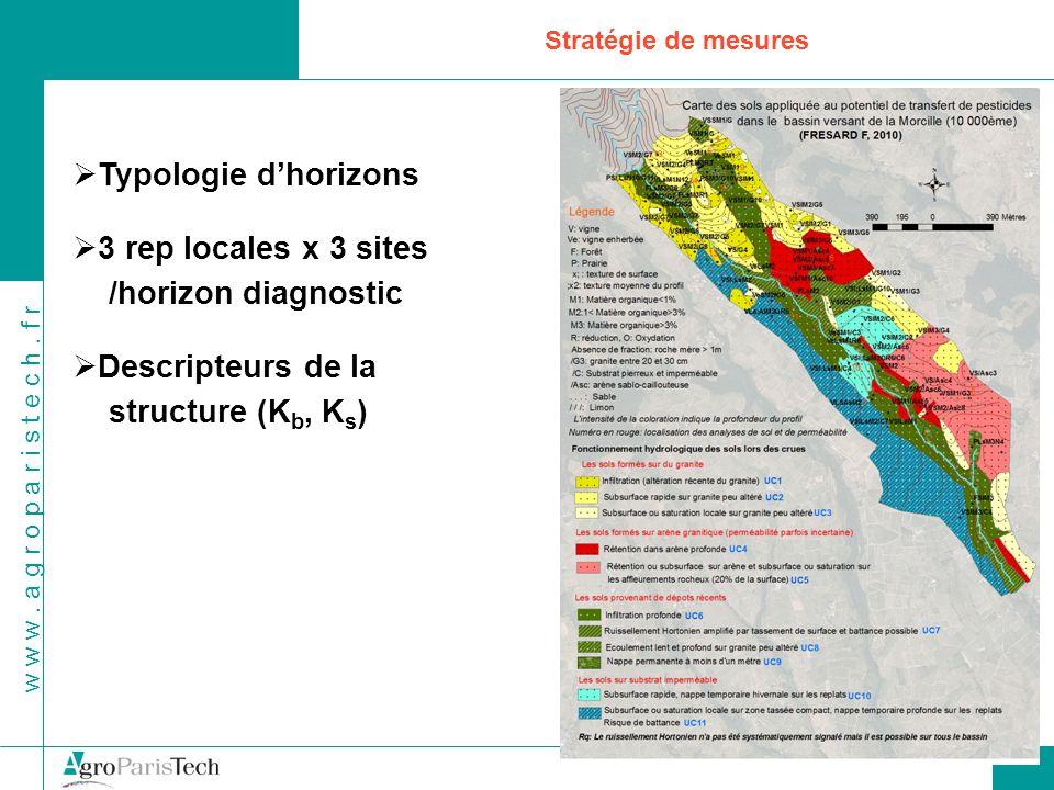 w w w. a g r o p a r i s t e c h. f r Stratégie de mesures Typologie dhorizons 3 rep locales x 3 sites /horizon diagnostic Descripteurs de la structur