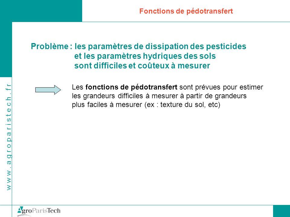w w w. a g r o p a r i s t e c h. f r Fonctions de pédotransfert Problème : les paramètres de dissipation des pesticides et les paramètres hydriques d