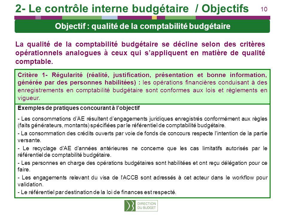 10 La qualité de la comptabilité budgétaire se décline selon des critères opérationnels analogues à ceux qui sappliquent en matière de qualité comptab