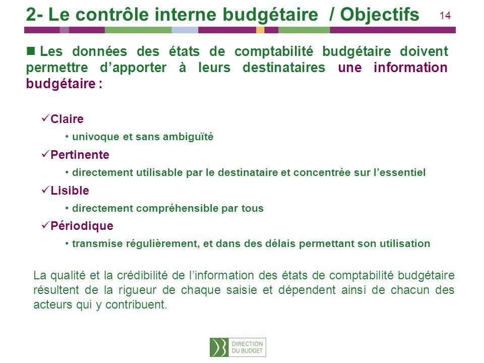 14 Les données des états de comptabilité budgétaire doivent permettre dapporter à leurs destinataires une information budgétaire : Claire univoque et