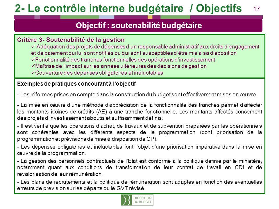 17 Exemples de pratiques concourant à lobjectif - Les réformes prises en compte dans la construction du budget sont effectivement mises en œuvre. - La