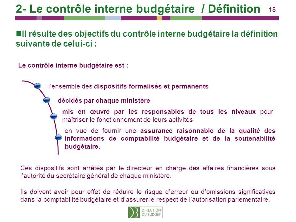 18 Il résulte des objectifs du contrôle interne budgétaire la définition suivante de celui-ci : Le contrôle interne budgétaire est : lensemble des dis
