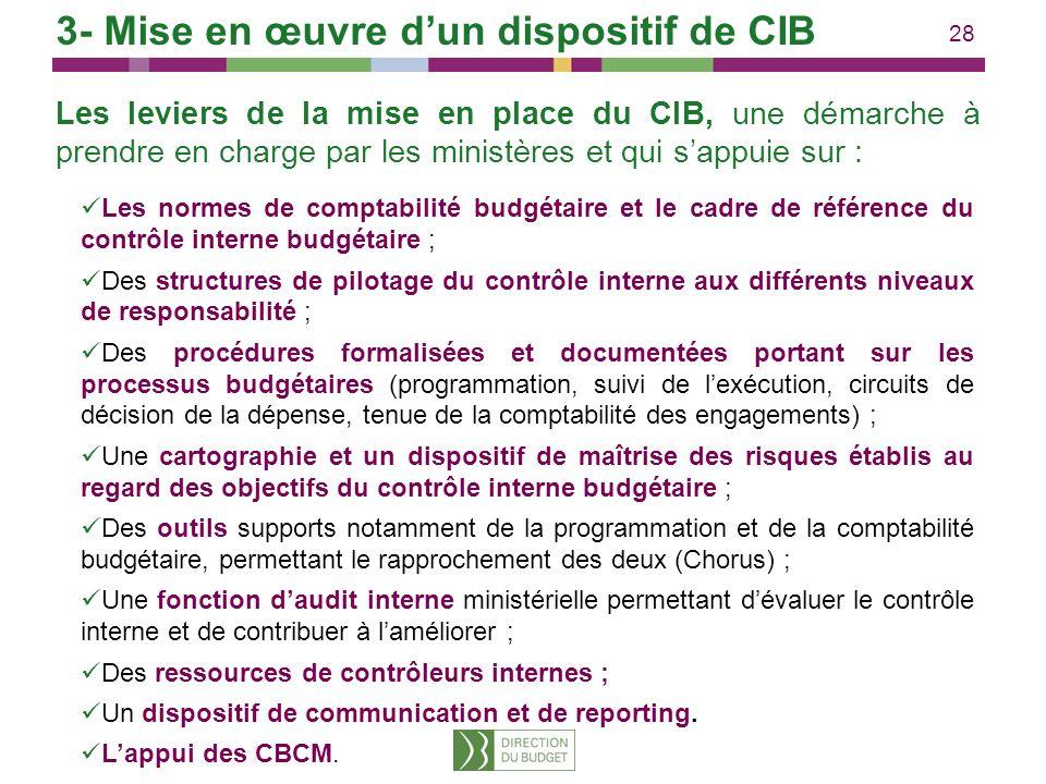 28 Les leviers de la mise en place du CIB, une démarche à prendre en charge par les ministères et qui sappuie sur : Les normes de comptabilité budgéta
