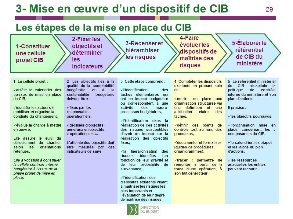29 Les étapes de la mise en place du CIB 1- La cellule projet : arrête le calendrier des travaux de mise en place du CIB, identifie les acteurs à mobi