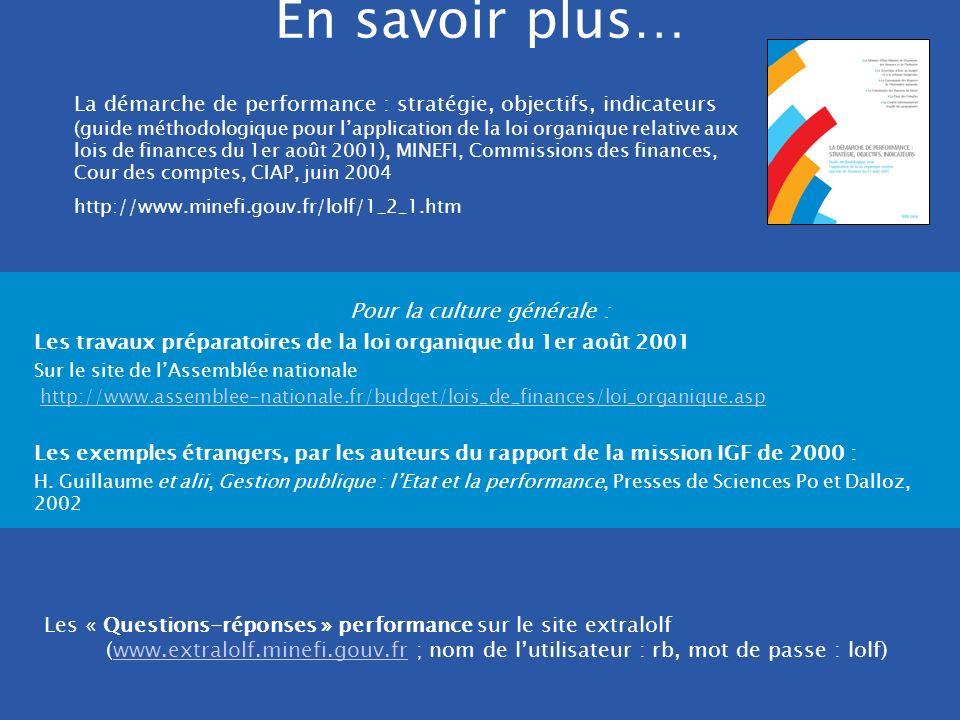 [MINEFI]. DRB/ MCF - 2005 En savoir plus… Les « Questions-réponses » performance sur le site extralolf (www.extralolf.minefi.gouv.fr ; nom de lutilisa