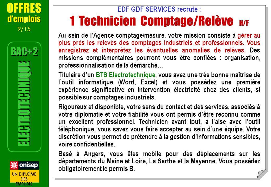 EDF GDF SERVICES recrute : 1 Technicien Comptage/Relève H/F Au sein de lAgence comptage/mesure, votre mission consiste à gérer au plus près les relevé