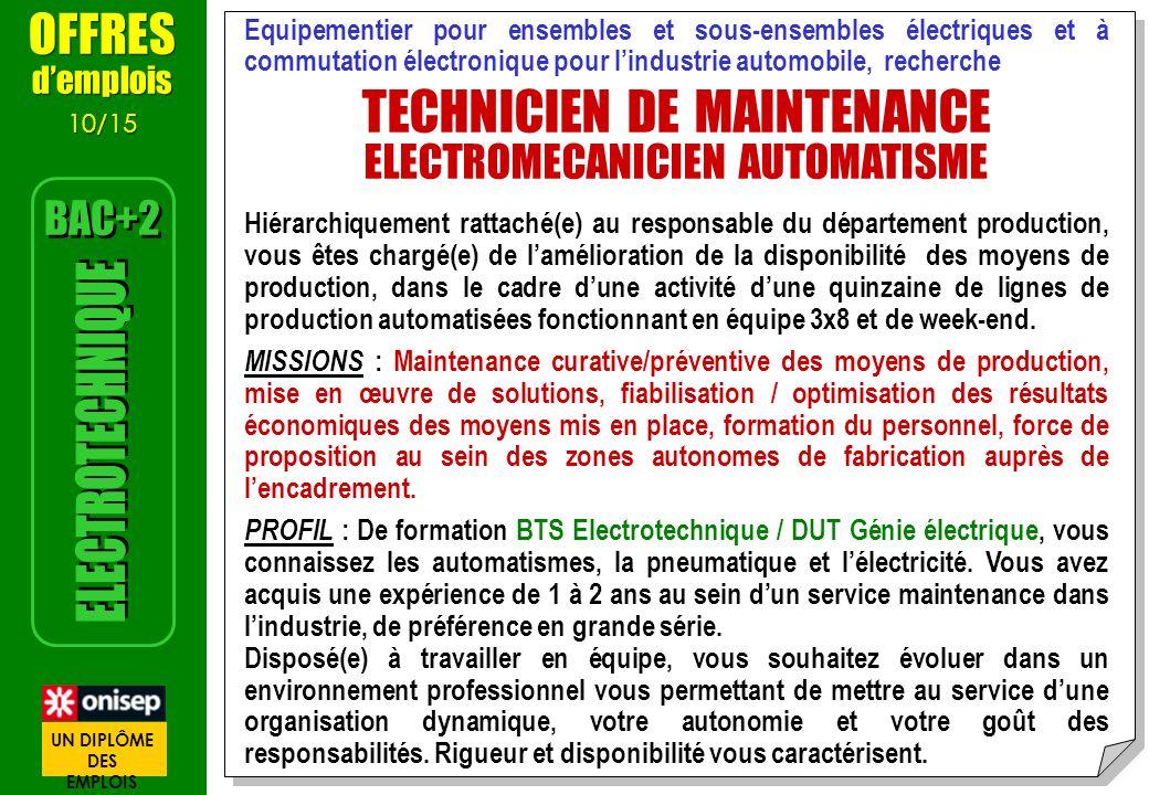 Equipementier pour ensembles et sous-ensembles électriques et à commutation électronique pour lindustrie automobile, recherche TECHNICIEN DE MAINTENAN