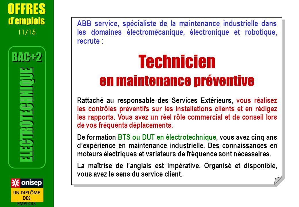 ABB service, spécialiste de la maintenance industrielle dans les domaines électromécanique, électronique et robotique, recrute : Technicien en mainten