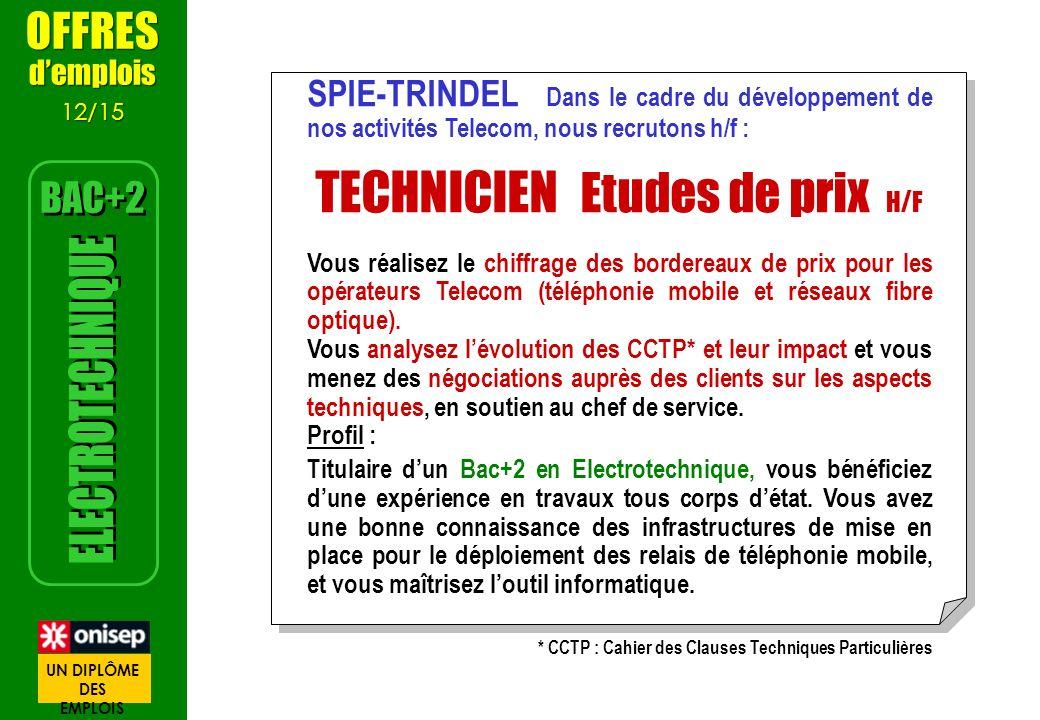 SPIE-TRINDEL Dans le cadre du développement de nos activités Telecom, nous recrutons h/f : TECHNICIEN Etudes de prix H/F Vous réalisez le chiffrage de