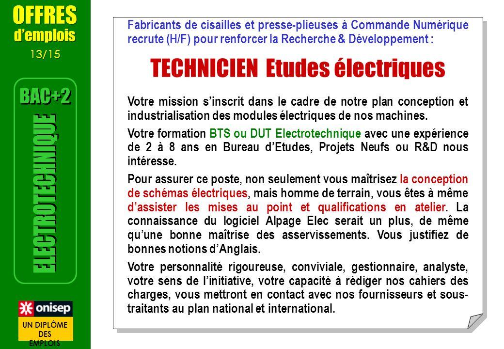 Fabricants de cisailles et presse-plieuses à Commande Numérique recrute (H/F) pour renforcer la Recherche & Développement : TECHNICIEN Etudes électriq