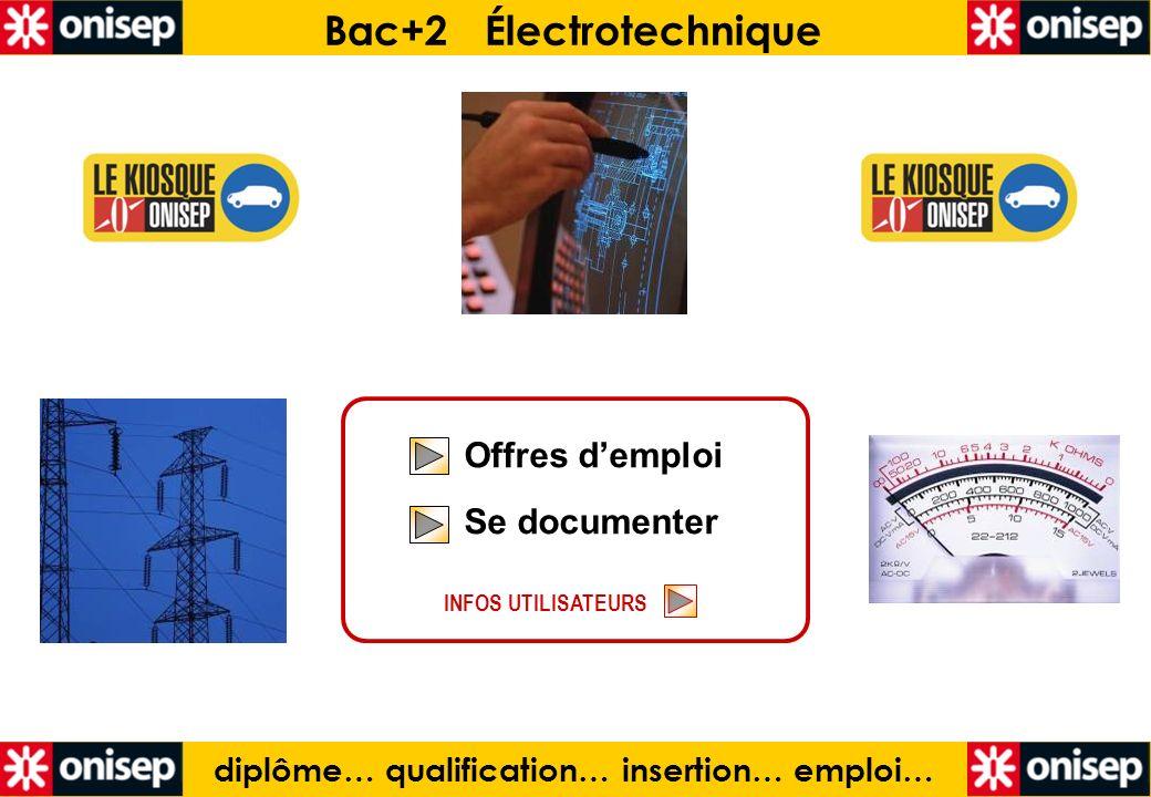 diplôme… qualification… insertion… emploi… Bac+2 Électrotechnique Offres demploi Se documenter Offres demploi Se documenter INFOS UTILISATEURS