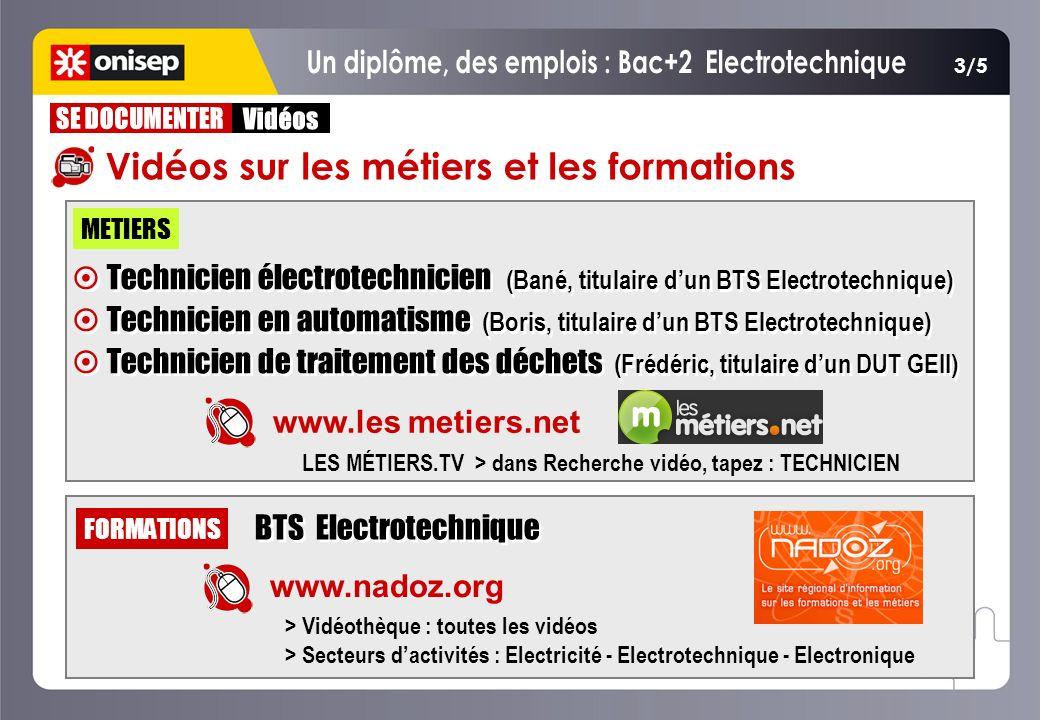 www.les metiers.net METIERS LES MÉTIERS.TV > dans Recherche vidéo, tapez : TECHNICIEN Technicien électrotechnicien (Bané, titulaire dun BTS Electrotec