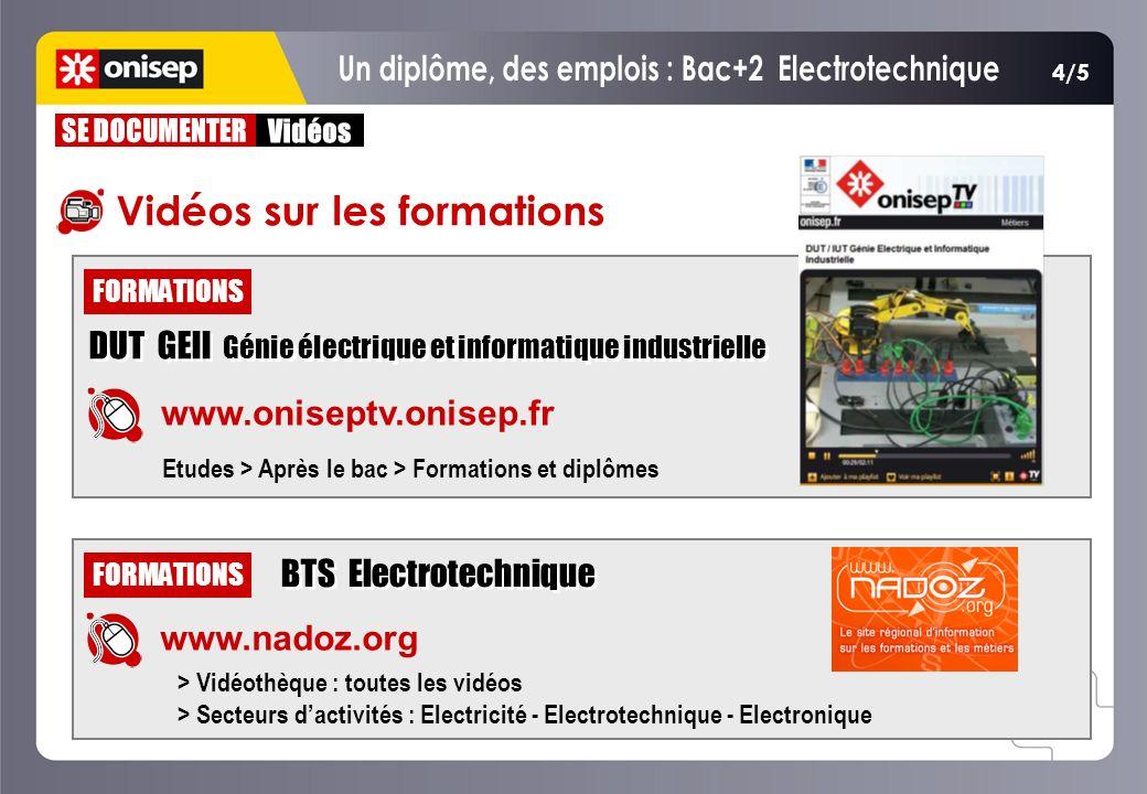 BTS Electrotechnique FORMATIONS www.nadoz.org > Vidéothèque : toutes les vidéos > Secteurs dactivités : Electricité - Electrotechnique - Electronique