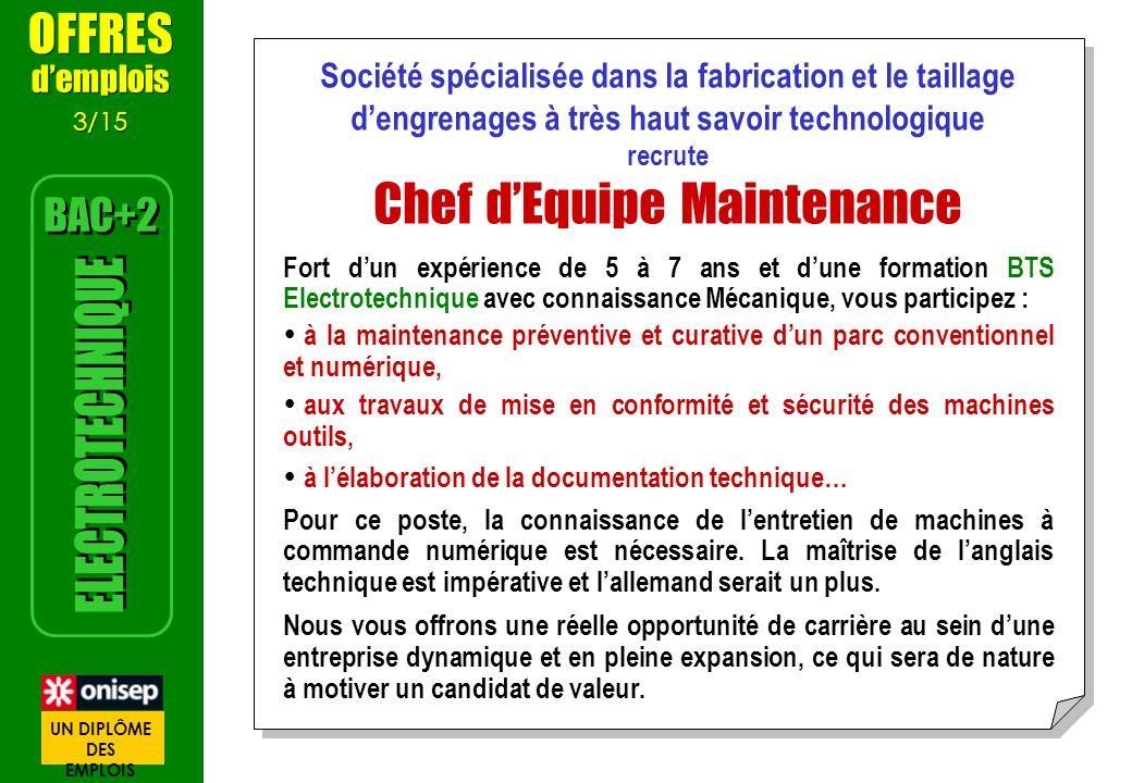Société spécialisée dans la fabrication et le taillage dengrenages à très haut savoir technologique recrute Chef dEquipe Maintenance Fort dun expérien
