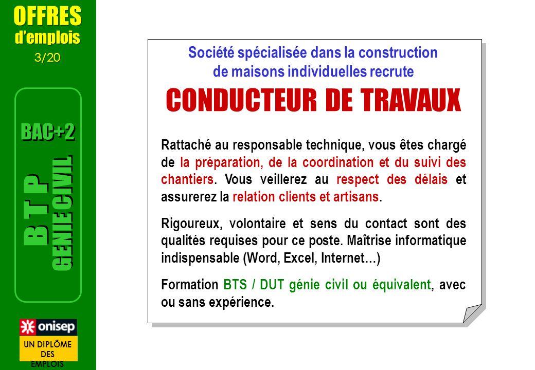OFFRES demplois 3/20 OFFRES demplois 3/20 Société spécialisée dans la construction de maisons individuelles recrute CONDUCTEUR DE TRAVAUX Rattaché au