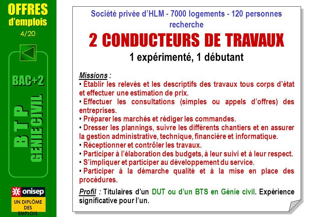 Société privée dHLM - 7000 logements - 120 personnes recherche 2 CONDUCTEURS DE TRAVAUX 1 expérimenté, 1 débutant Missions : Établir les relevés et le