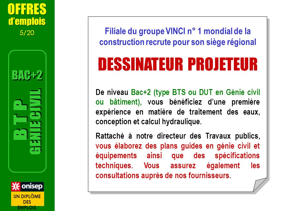 OFFRES demplois 5/20 OFFRES demplois 5/20 Filiale du groupe VINCI n° 1 mondial de la construction recrute pour son siège régional DESSINATEUR PROJETEU