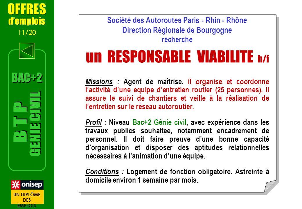OFFRES demplois 11/20 OFFRES demplois 11/20 Société des Autoroutes Paris - Rhin - Rhône Direction Régionale de Bourgogne recherche un RESPONSABLE VIAB