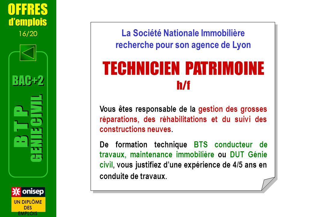 OFFRES demplois 16/20 OFFRES demplois 16/20 La Société Nationale Immobilière recherche pour son agence de Lyon TECHNICIEN PATRIMOINE h/f Vous êtes res
