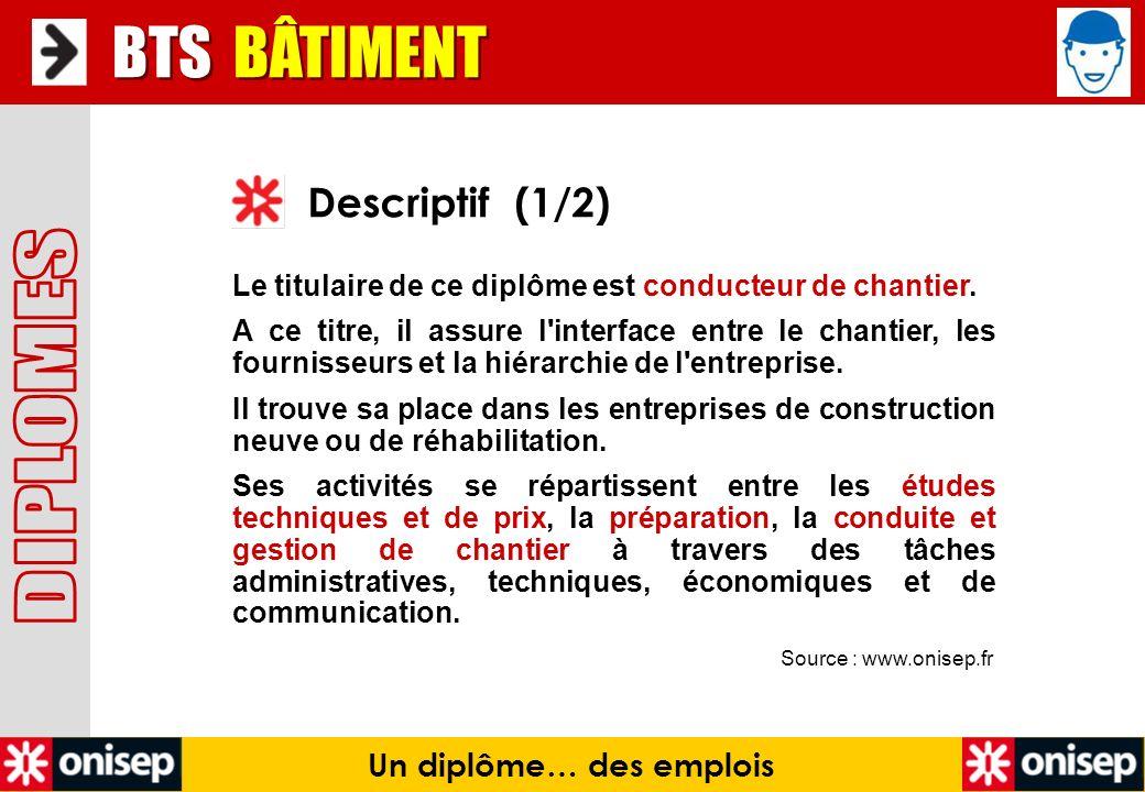 Source : www.onisep.fr Descriptif (1/2) BTS BÂTIMENT Le titulaire de ce diplôme est conducteur de chantier. A ce titre, il assure l'interface entre le