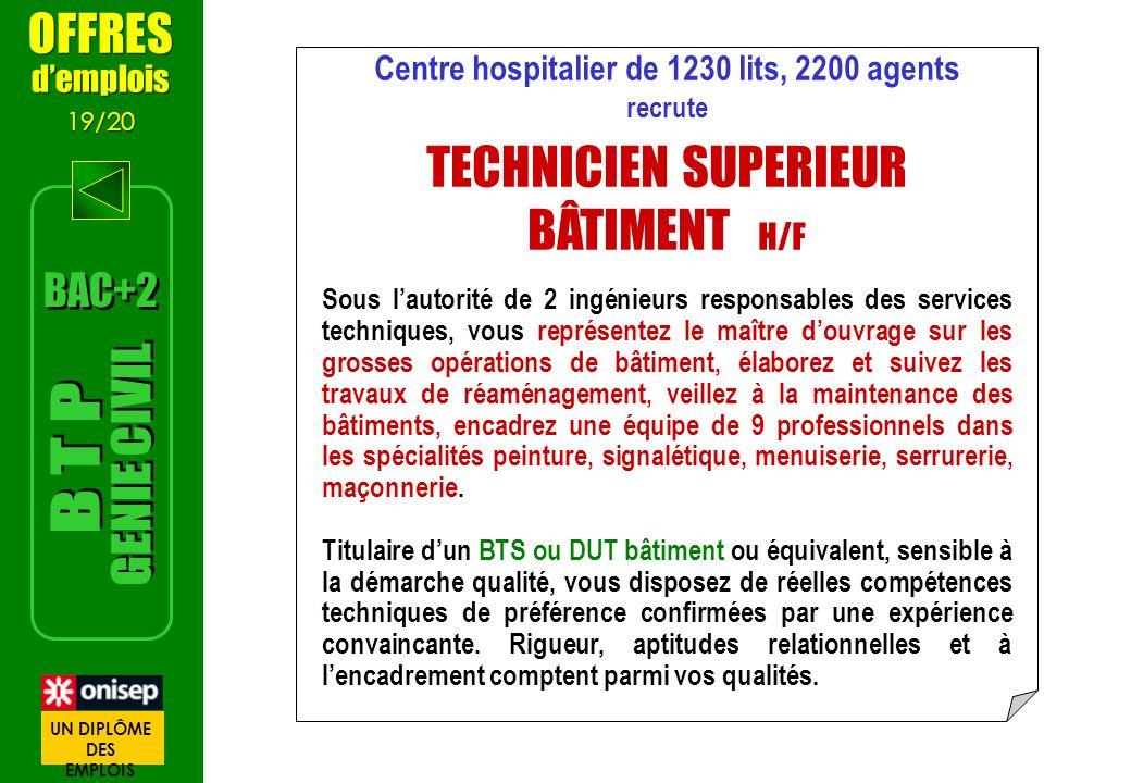 OFFRES demplois 19/20 OFFRES demplois 19/20 Centre hospitalier de 1230 lits, 2200 agents recrute TECHNICIEN SUPERIEUR BÂTIMENT H/F Sous lautorité de 2