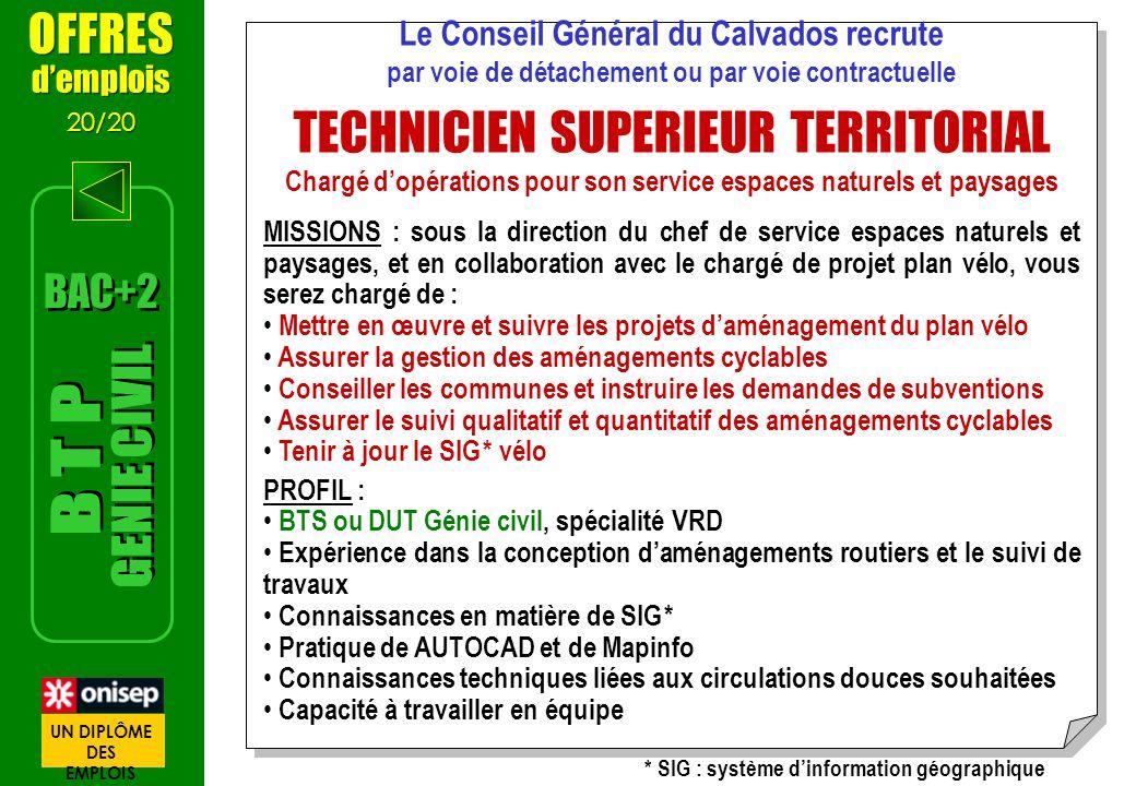 OFFRES demplois 20/20 OFFRES demplois 20/20 Le Conseil Général du Calvados recrute par voie de détachement ou par voie contractuelle TECHNICIEN SUPERI