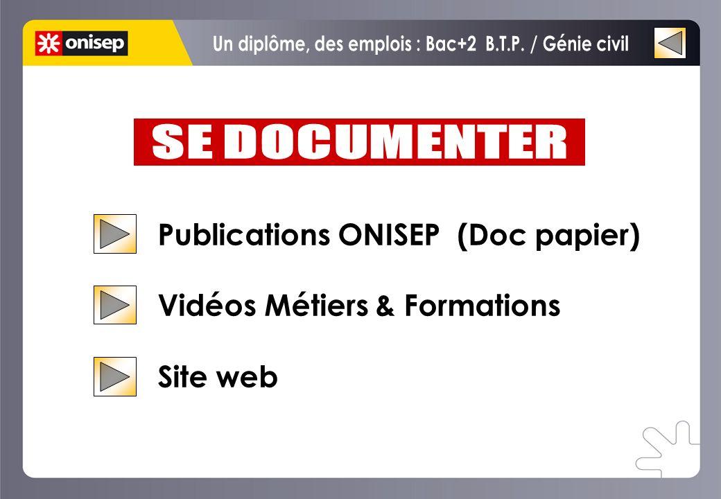 Publications ONISEP (Doc papier) Vidéos Métiers & Formations Site web Publications ONISEP (Doc papier) Vidéos Métiers & Formations Site web