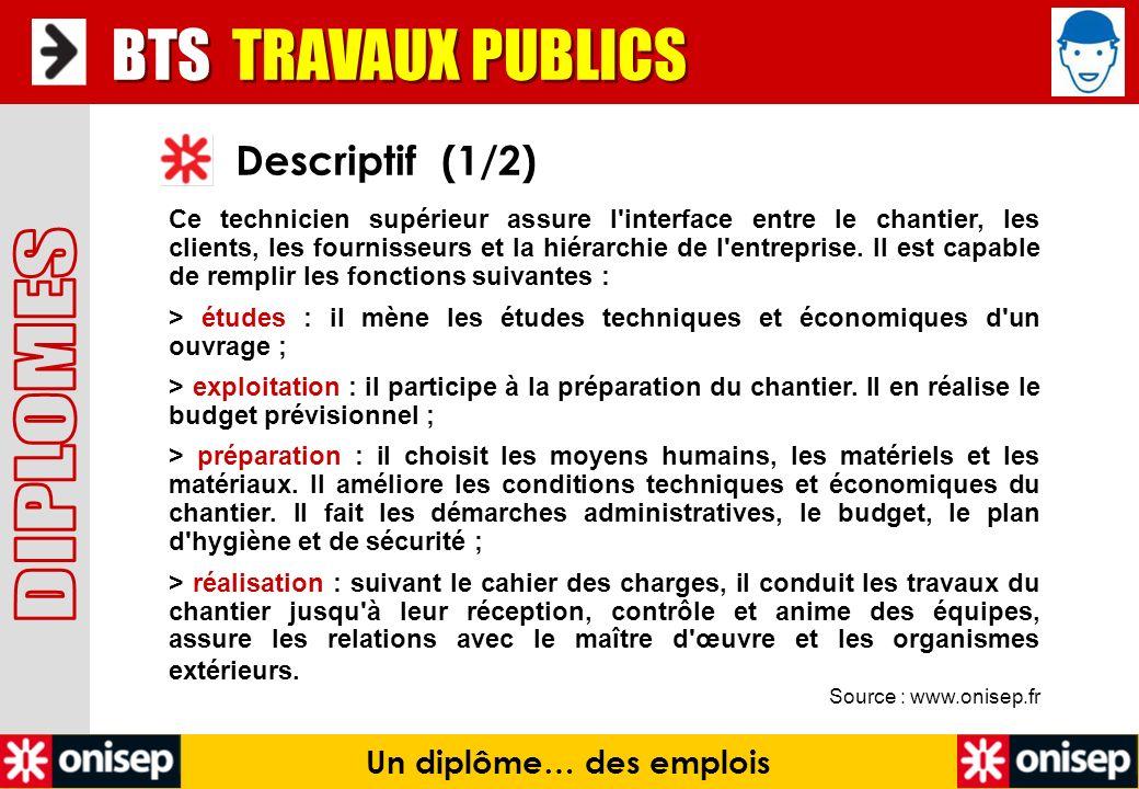Source : www.onisep.fr Descriptif (1/2) BTS TRAVAUX PUBLICS Un diplôme… des emplois Ce technicien supérieur assure l'interface entre le chantier, les
